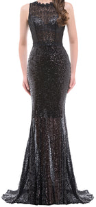 Women's Elegant Black Hollowed Back Sequins Lace Evening Gown EM0007