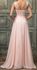 Women's Beaded  Pink Chiffon Bridesmaid .Red Carpet .Pageant Dress EM00029
