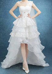 Women's White Asymmetrical Hem One Shoulder Stylish .Red Carpet Dress. Wedding Dress EM10003