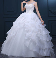 White Beaded Bodice With Ruffle A-line Skirt Wedding Dress EM10006