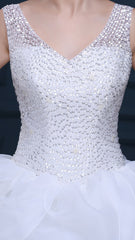 Women's White Beaded Bridal  With Ruffle A-line Skirt  EM10006