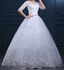 Women's White Half Sleeves Beaded  Wedding Dress . Princess Dress. Red Carpet Dress EM10007