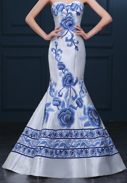 White Blue Floral QiPao Dress .Pageant . Cheongsam  . ITEM NO:EM10006