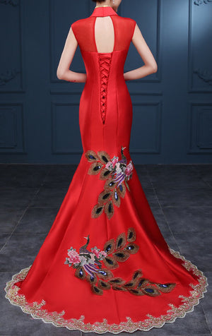 Women's Red Embroidery Phoenix And Floral Qipao .Cheongsam.EMQ2