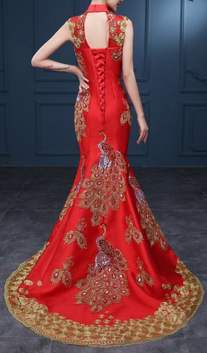 Women's Red Golden Embroidery Sequined With Phoenix Qipao .Cheongsam.EMQ3