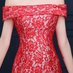 Women's Red Lace Bateau Neckline Evening Gown EM10005