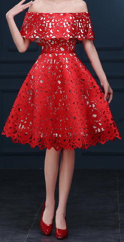 Women's Red Satin Lace Bridesmaid Dress EM10003