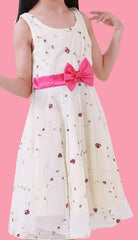 Girls Floral Embroidery Sleeveless With Bow Dress EM201SX