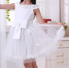 Girls Kids White Lace Dress EM202SX