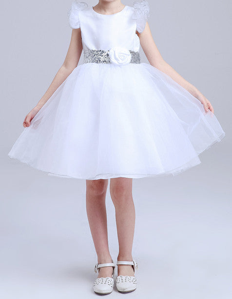 Kids White With Flower Waist  Party Dresses EM209KE