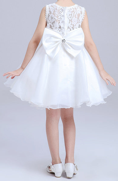 Girls White With Two Bow Dresses EM210KE