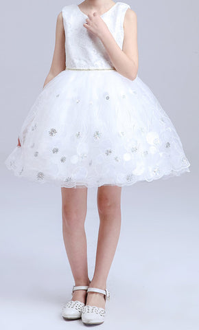 Kids White Pink Big Bow Party Dresses EM211KE
