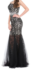 Women's One Shoulder Red Black Lace With Sequins And Beadings Mermaid Prom Dress EM0009