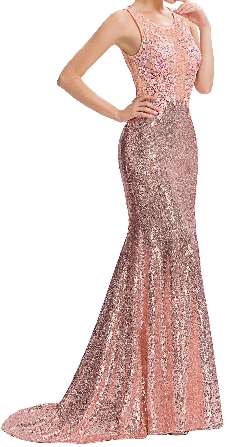 Women's Pink  Lace Sequined Party Dresses Beading Appliques Mermaid Evening  Gown EM00013