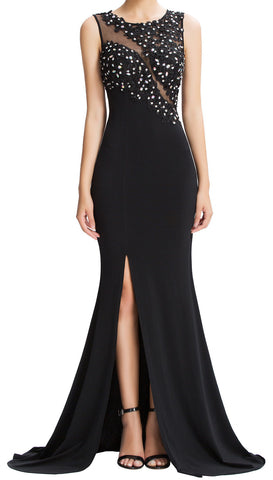 Women's Black High-Split With Beaded  Sequined  Elegant Evening Gown Sparkle Party Dress  EM00015