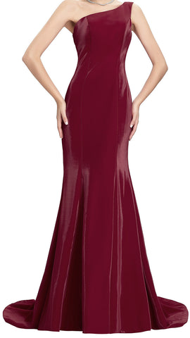 Women's Vixen Red Evening Gowns One Shoulder Elegant Mermaid  Ball Gown  Prom EM00016