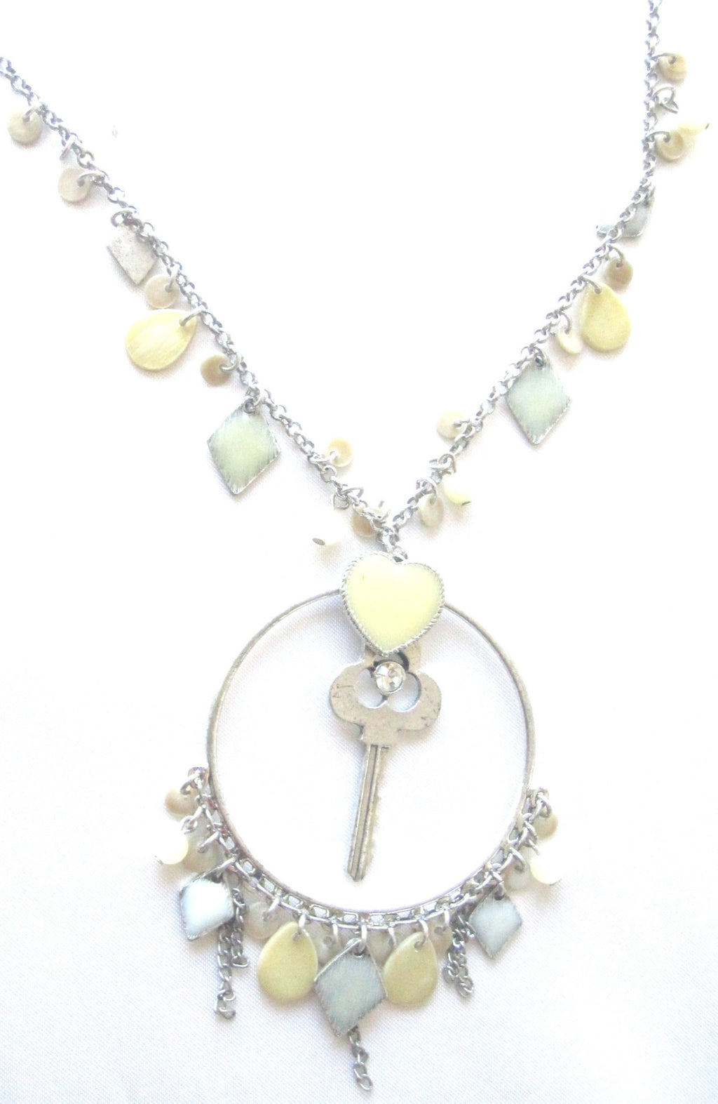 Women's Key Stone  Pendant Necklace  . Classic Chain  Necklace EM- N12
