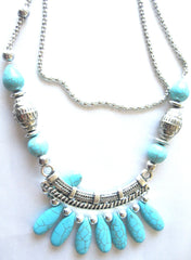 Ellie Mei Turquoise Stones Pendant .Long Chain  Necklace EM- N15