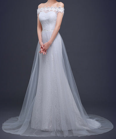 Ellie Mei Wedding White Mermaid Lace Dress  ITEM NO EMW100017