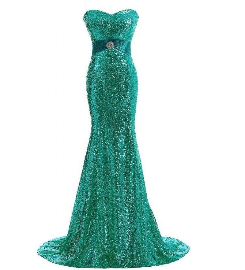 green mermaid dress sparkle evening gown red carpet dress Oscar dress run way gown mermaid dress sweetheart neckline dress strapless gown green sparkle prom strapless sparkle green adjustable dress  prom