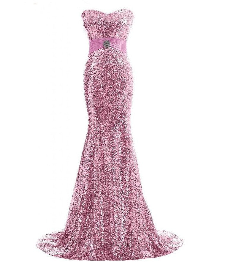 pink sparkle evening gown red carpet dress Oscar dress run way gown mermaid dress sweetheart neckline dress strapless gown pink sparkle prom strapless sparkle pink adjustable dress  prom
