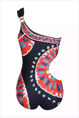 One Piece Cutout Swimsuit Geometry Printed Swimsuit #EMSW19008