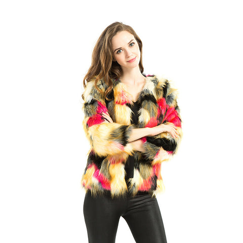 Women's Long Sleeve Winter Slim Female Long Fur Mix Color hot sale .Warm Jacket