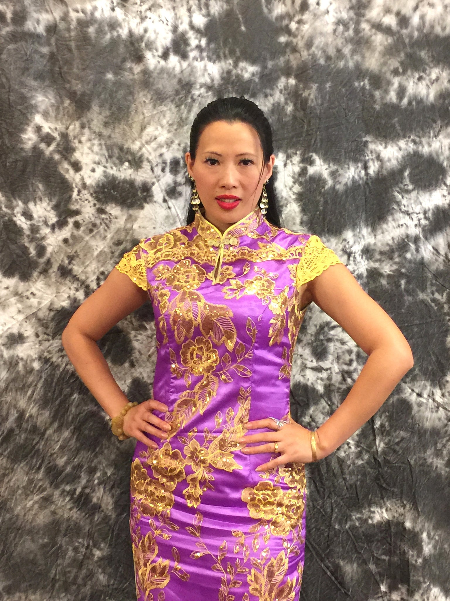 Women's Purple Lace Qipao Dress. Purple Cheongsam .EMQ6