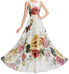 Women's Long Floral Chiffon Dress.Prom.  EM00010