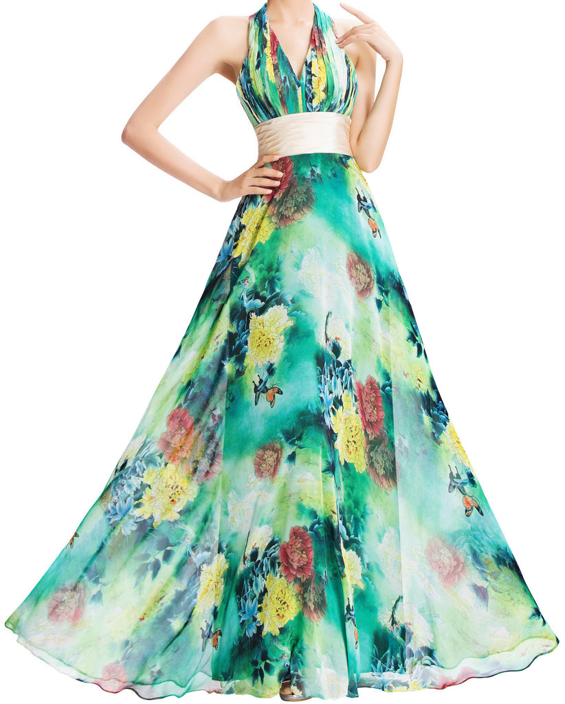 Women's V- Neckline Green Floral Chiffon Long Dress EM00012