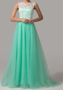 Women's Turquoise Lace Evening Gown Prom Party DressesEM00027