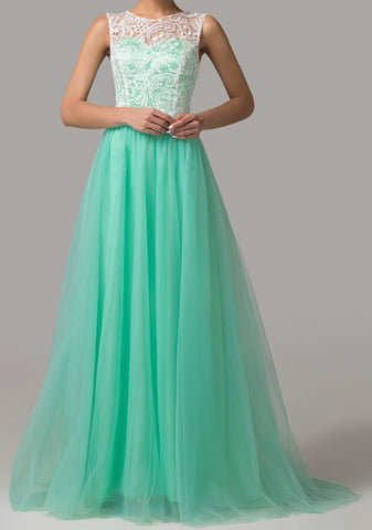 Women's Turquoise Lace Evening Gown EM00027