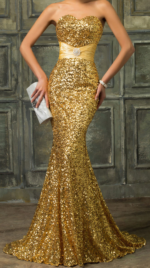 Women's Sexy Slim Sequined Mermaid Ball Gown EM00018