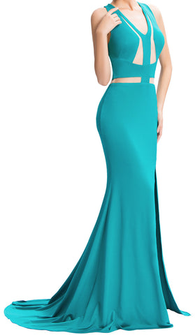 Women's Turquoise Prom. Ball Gown.Evening Gowns  Pageant Dress . Mermaid Dress.  EM00019