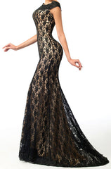Women's Black Lace Sheath Cocktail Dress EM00021