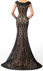 Women's Black Lace Dresses Black Mermaid Hollywood Dresses  Prom   EM00021