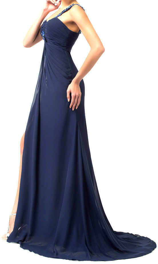 Women's Blue Chiffon One Shoulder Neckline With Beaded  Ball Gown EM00022
