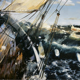 stormy sailing, splashes, waves, wet, greys, golds, greens, oil painting,