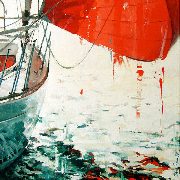 sail, dripping, red, blood, turquoise, calm, oil painting, yachting
