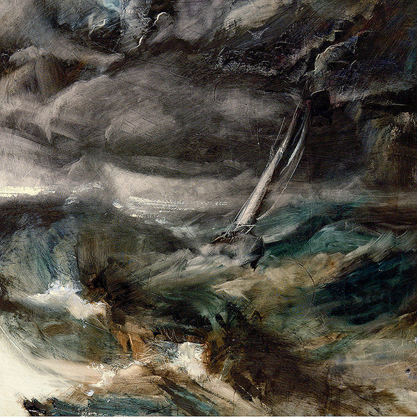 Tempest, yacht, storm, terrifying, fear, faith, grey, moody, mixed media, oil on paper