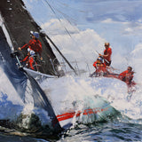 Ocean racing, crew, red, green, bow man, rolex
