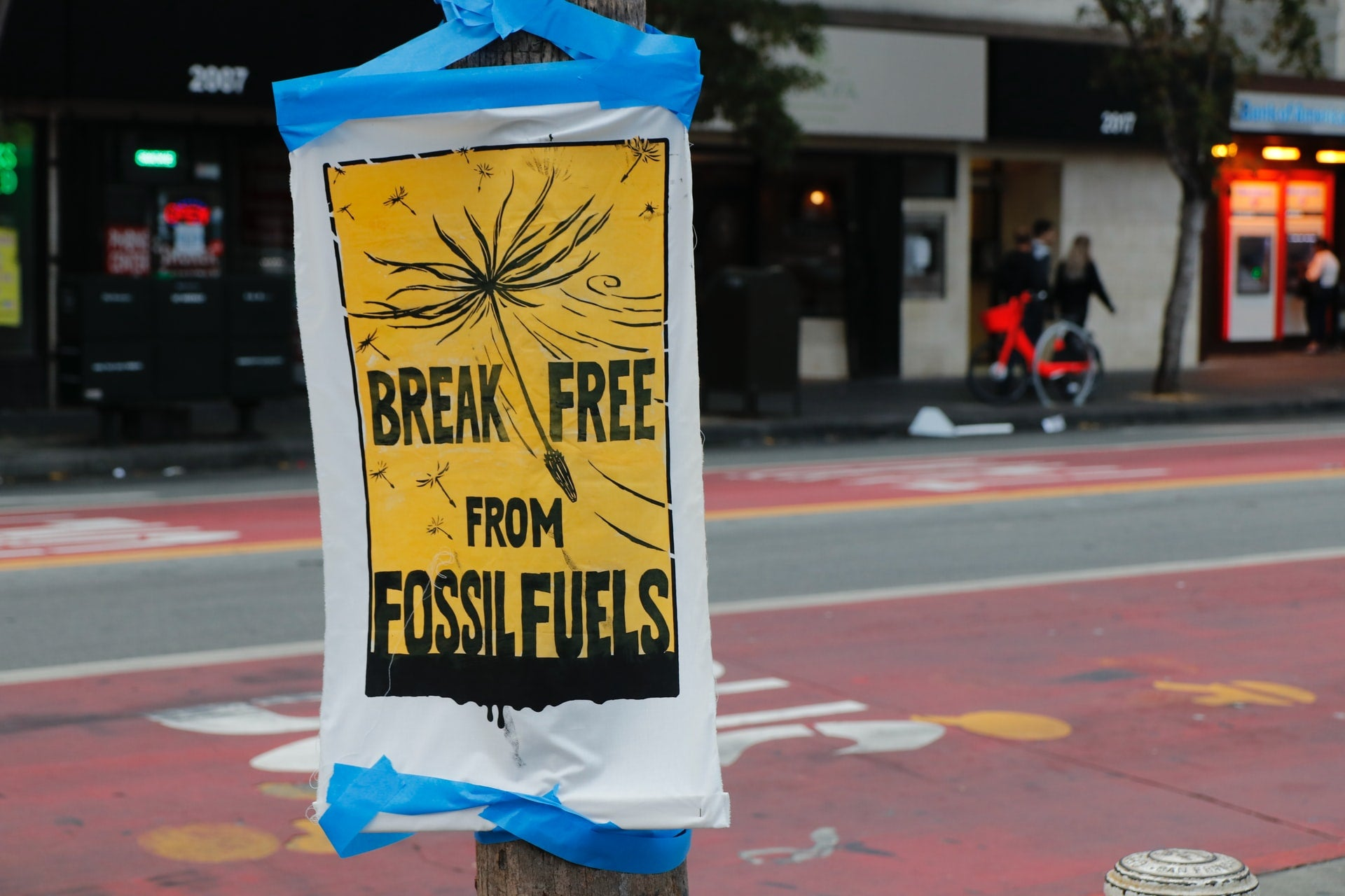 paper sign break free from fossil fuels