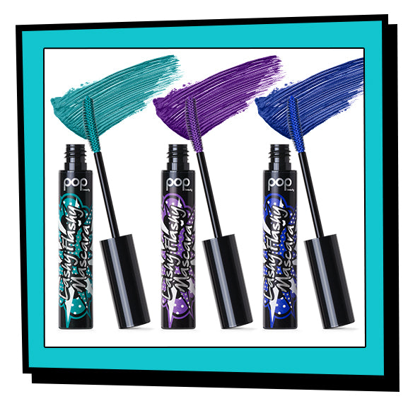 Lashy Flashy Mascara in Tantalizing Teal, Purple Passion, and Blue Bloom