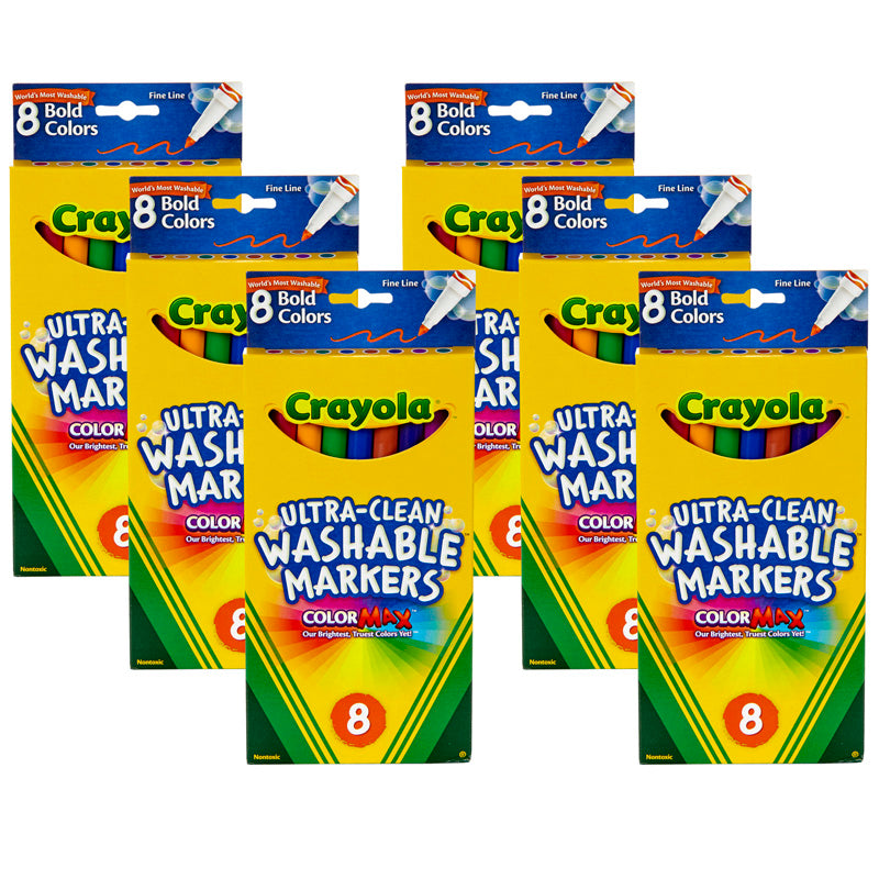 (6 BX) WASHABLE MARKERS 8CT PER BX