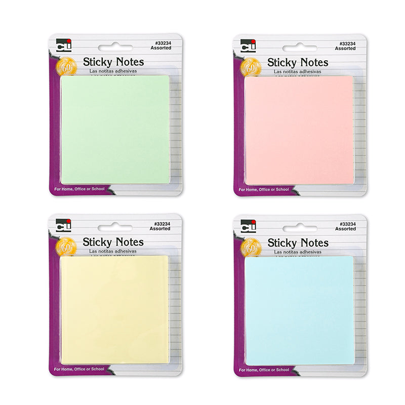 STICKY NOTES 3X3 4 PADS PASTEL ASST