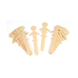 PEOPLE SHAPED WOOD CRAFT 16 PCS