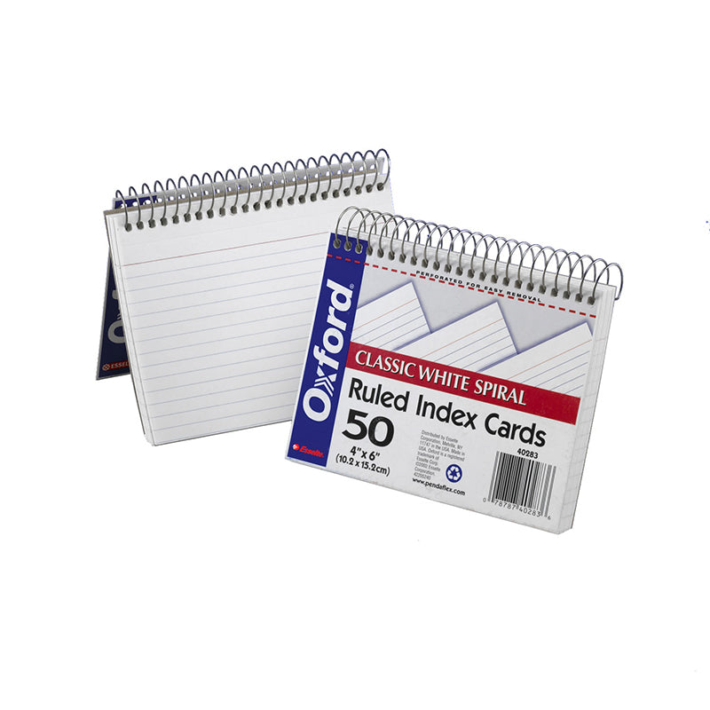 OXFORD SPIRAL INDEX CARDS 4X6 WHITE