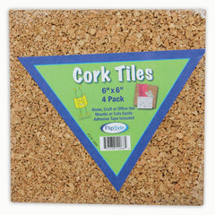 CORK TILES 6IN X 6IN SET OF 4
