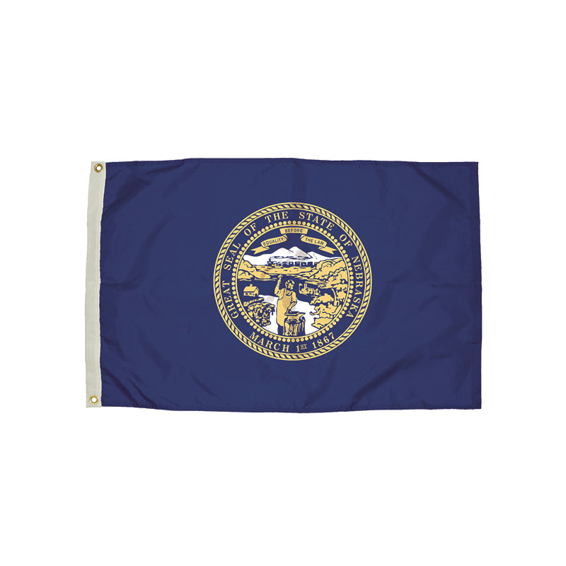 3X5 NYLON NEBRASKA FLAG HEADING &