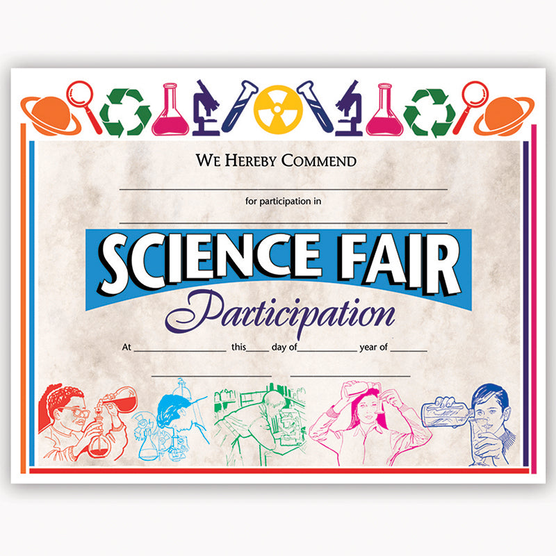CERTIFICATES SCIENCE FAIR 30/PK